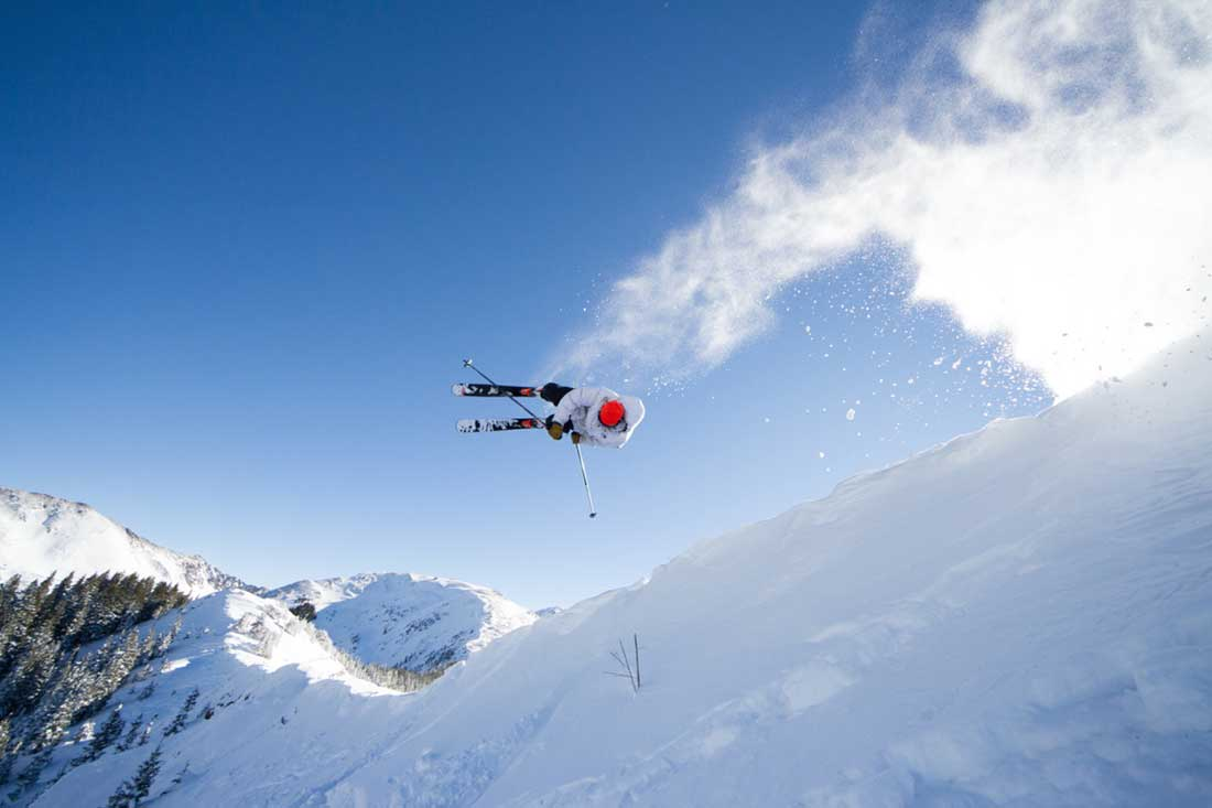 Skier in the air.