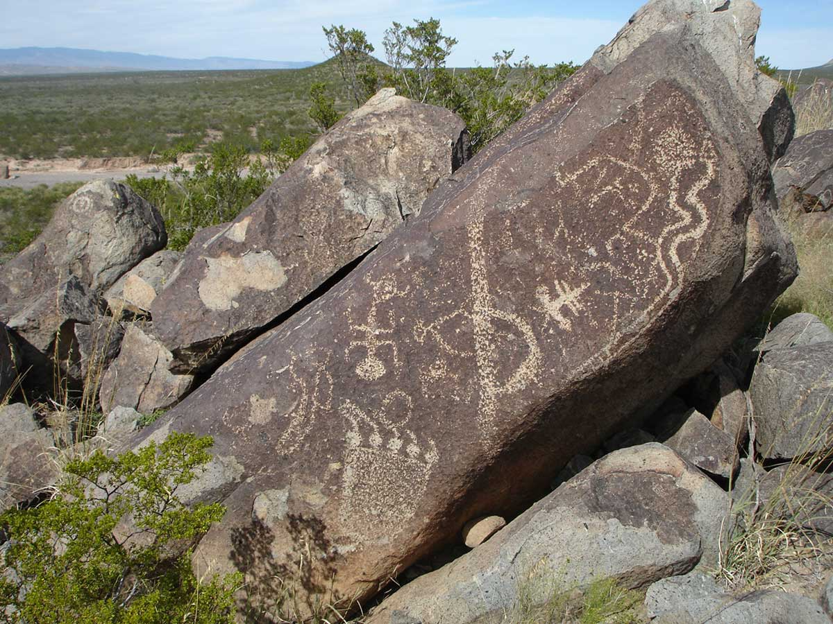 Rock at at Three Rivers Petroglyph Site