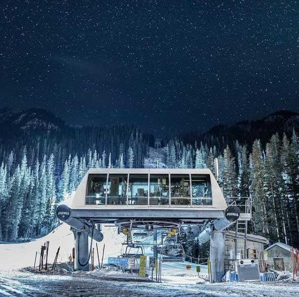 Taos Ski Valley base at night.